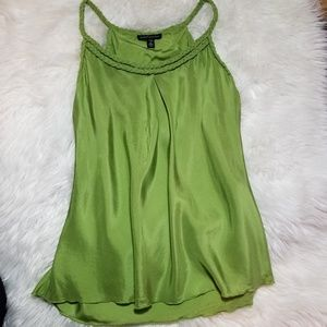 NWOT Banana Republic Green Silk Blouse Braided